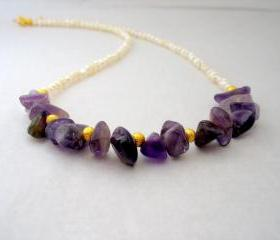 Purple Pearl Necklace,Bridal Necklace,Ivory Beaded Necklace,Wedding Jewelry, Semi Precious stone Jewelry,Amethyst Pearl Necklace