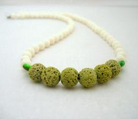 White Coral Necklace,White Green Beaded Necklace,Beaded Jewelry,Volcanic Lava Jewelry, Summer Fashion,Minimal,Under 50 40 30