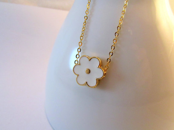 Dainty flower necklace white flower necklace enamel for Gemsprouts tiny plant jewelry